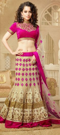 131619, Bollywood Lehenga, Net, Cut Dana, Resham, Stone, Valvet, Patch, Bugle Beads, Beige and Brown Color Family