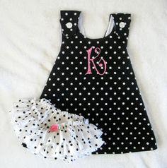 Pinafore and Ruffled Sassy Pants Diaper Cover Sundress Sunsuit Polka Dots Set