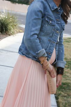 Blush Pink Pleated High Low Skirt & Denim Jacket