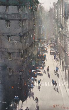 From My Hotel Room, Paris - Joseph Zbukvic - watercolour Watercolor City, Watercolor Artists, Watercolor Landscape, Watercolor Paintings, Watercolours, Urban Landscape, Landscape Art, 7 Arts, Joseph Zbukvic