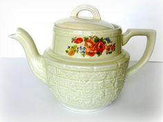 Drip-O-Lator Coffee Maker Hall China Coffee Server Vintage Tea Pot Retro Kitchen Cream Poppy Orange