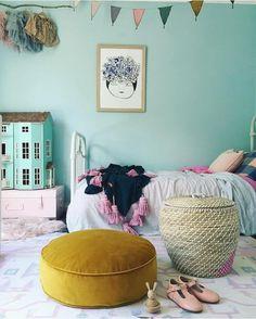 Kid's room--mustard velvet floor pillow