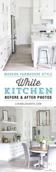 New White Kitchen Reveal. Amazing before and after photos of a modern farmhouse style kitchen home remodel. Home decorating and kitchen inspiration. LivingLocurto.com