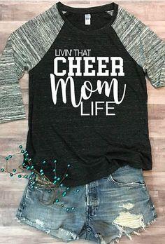 $36 Cheer Mom Life Eco Jersey Raglan. Cheerleading, cheer squad. #momlife #cheerleading #ad