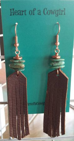 Fringe Earrings - Brown Leather - Turquoise - Copper -Rustic Earrings - Cowgirl Jewelry - Western Jewelry - Boho - Long and lovely, these earrings will catch everyones eye… Green Campo Frio turquoise is stacked a - Diy Leather Earrings, Fringe Earrings, Diy Earrings, Leather Jewelry, Wire Jewelry, Boho Jewelry, Jewelry Crafts, Jewelery, Bullet Jewelry