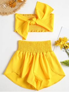 Summer Solid Pleated Elastic High Sleeveless Strapless Regular Cute Beach Tie Front Bandeau Top Shorts Two Piece Set Girls Fashion Clothes, Teen Fashion Outfits, Baby Girl Fashion, Kids Fashion, Girl Outfits, Casual Outfits, Fashion Design, Paris Fashion, Trendy Fashion