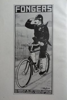 Vintage Bike Poster Fongers Police Man Riding Simplex by KingPaper, $10.00