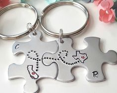 Shipping & Policies Cali Girl Customs brings to this original design best friend keychain set. Each keychain is stamped with a state of your choice along with 2 desired intials (as pictured)  *LEAVE DESIRED INITIALS & STATES/COUNTRIES IN NOTE TO SELLER BOX AT CHECK OUT*  NEW! - Introducing Countries/Continents - Europe, Asia, Australia, Canada, South America, United Kingdom (see photos). Aluminum Keychains Size: 3x.5 Rust Resistant WANT THESE IN COPPER? https://ww...