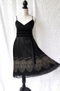 Art Deco Cocktail Dress | DeadStock ANN TAYLOR Fit & Flare ACCORDION Pleat/ Art Deco Cocktail ...