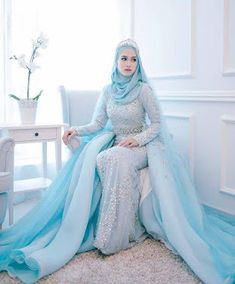 Top 10 Muslim Wedding Dress in This year Hijabi Wedding, Muslimah Wedding Dress, Muslim Wedding Dresses, Hijab Bride, Modest Wedding Dresses, Muslim Gown, Hijab Dress Party, Blue Long Sleeve Dress, Fairytale Dress