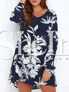 Navy Long Sleeve Floral Dress 15.90