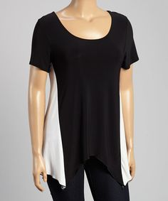 Love this Black & Ivory Color Block Tunic - Plus by Star Vixen on #zulily! #zulilyfinds
