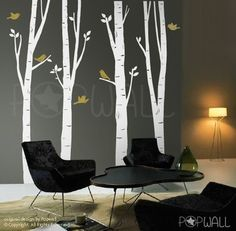 Birch Tree Wall decal with flying bird Wall decal wall sticker, living room wall decals, home decor, vinyl,wall decor - 075 Birch Tree Wall Decal, Tree Decals, Tree Wall Art, Tree Art, Wall Stickers Birds, Bird Wall Decals, Wall Decal Sticker, Office Wall Decals, Office Walls