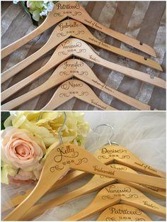 5 Personalized Wedding Dress Hangers - Bridal Party Hangers - Bridal Hanger - Wedding Hanger - Bridesmaid Gift - Custom Engraved Hanger #rusticweddings #weddings #weddingideas
