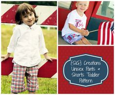 INSTANT DOWNLOAD Boy or Girl Pants and Shorts with Pocket Sewing Pattern in PDF File - Size 6 month to 5T, $7.00