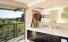 Jeff Lewis Design: Valley Oak 2. A bathroom with a balcony. Love it.