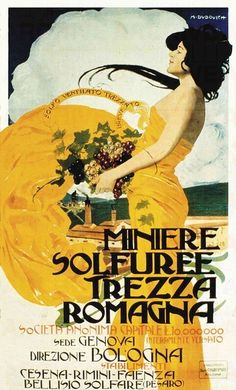 Marcello Dudovich Miniere Solfuree Trezza Romagna, 1905 c. stampa litografica a colori su carta 100 x 70 cm