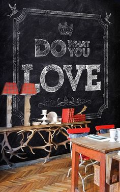 Wallpaper from Wall & Deco, Do What You Love. Contemporary. Funky. Black/White.