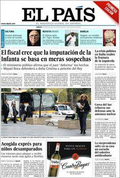 Los Titulares y Portadas de Noticias Destacadas Españolas del 6 de Abril de 2013 del Diario El País ¿Que le parecio esta Portada de este Diario Español?
