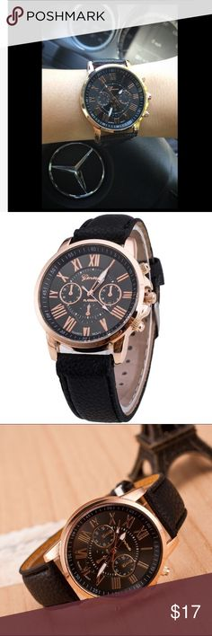 ✨Beautiful Black rose/gold wrist watch!✨ Timeless look- A watch for all occasions💕 Perfect gift. Chic watch that compliments all accessories✨ -Analog quartz -Synthetic leather band -Unisex. Various colors available! 🎨 Accessories Watches