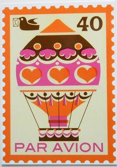 Vintage Style Postage Stamp Postcard - Hot Air Balloon. via Etsy.