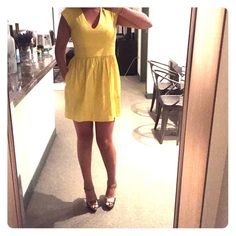 Yellow French Connection Dress Adorable cotton mini dress. Wore once only to opening day at the races. Perfect condition. French Connection Dresses