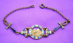 Pretty vintage Art Deco Egyptian Revival enamelled bracelet Pyramid & Sphinx
