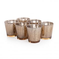 Glass Votive Candle Holders - 3 Aged Gold Votive Holders [758-960399GLD Aged Votive Holder] : Wholesale Wedding Supplies, Discount Wedding F...