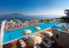 A smart spa hotel with views of the Bay of Naples and Mount Vesuvius, with breakfast and a host of extras