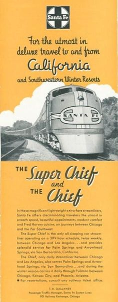 Flyer for the ATSF passenger trains The Super Chief and The Chief.