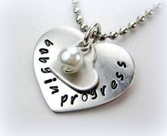 Baby in Progress handstamped jewelry necklace by StampologieShop, $24.50