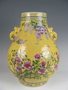 Chinese Famille Rose Yellow Flower Vase