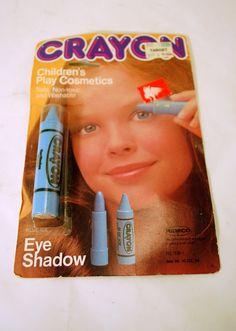 I totally used to have this. And i've been looking for this type product for kids I know today to give as a gift. 1980's Vintage New in Package Remco Crayon Eye Shadow Children's Play Cosmetics