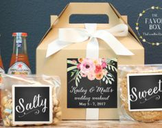 Set Of 6 Out Town Guest Box Wedding Welcome Bag Favor Antler Boho Label