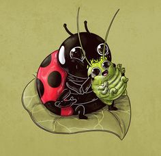 I can't say I've ever thought a cat chomping down on a dying bird was cute, but somehow illustrator Alex Solis makes his Predator & Prey series quite a Predator, Prints Whatsapp, Alex Solis, Lapin Art, Toile Photo, Illustrator, Circle Of Life, Creepy Cute, Lady Bug