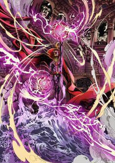Zeropointfive's illustrative powers never fail to marvel. Heros Comics, Marvel Comics Art, Marvel Heroes, Marvel Comic Character, Marvel Characters, X Men, Comic Books Art, Comic Art, Doc Strange
