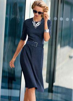 7b7ef516da0 Baumwolle Streifen Halbe Ärmel Knielang Lässige Kleidung Kleider Damenmode  Kleider