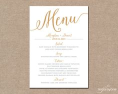 Gold Wedding Menu Card Printable Wedding Menu  Bella Script Diy