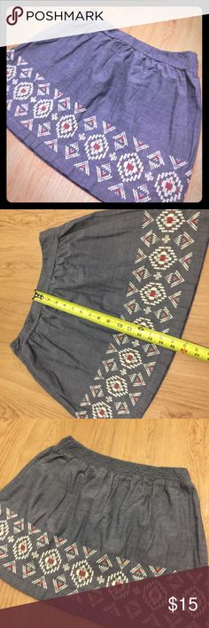 American Eagle Skirt American Eagle Skirt. Lightweight jean material with adorable stitching. Perfect condition! American Eagle Outfitters Skirts