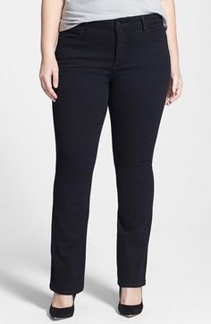 NYDJ 'Billie' Stretch Mini Bootcut Jeans (Black) (Plus Size) at Nordstrom.com. A narrow boot-leg opening adds flattering balance to the contemporary slim cut of stretchy jeans in an inky black wash. Exclusive lift-tuck technology helps flatten the tummy and lift the rear. A comfortable and flattering pant for Tommie S.   For plus size fashion visit http://www.plvshstyle.com/