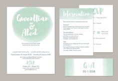 Bilingual wedding invitation from Draenog Design - Gwahoddiad priodas dwyieithog Gwenllian ac Aled Personalised Wedding Invitations, Wedding Invitation Sets, Wedding Stationery, Belly Bands, Invite Your Friends, Card Sizes, Rsvp, Wedding Day