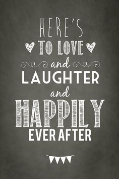 Here's to love laughter and happily ever after - FREE Vintage wedding poster - Maryanne Scott