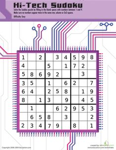 Play hi-tech sudoku! Your fourth grader will use her problem solving and critical thinking skills to solve this frustratingly fun math puzzle! Sudoku Puzzles, Number Puzzles, Free Printable Math Worksheets, Printables, Math Practices, Critical Thinking Skills, Basic Math, Problem Solving Skills, Fun Math