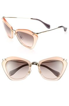Free shipping and returns on Miu Miu Glitter Infused 55mm Cat Eye Sunglasses at Nordstrom.com. Delicate metal hardware composes the arched bridge and barely there temples of glitter-infused cat-eye sunglasses with a decidedly vintage aesthetic.