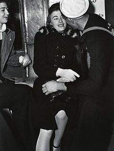 Stoumen, Lou:  Sailor And Girl On Subway, 1940, Printed later.