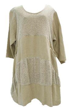AKH Fashion Lagenlook ausgefallene Leinentunika Leinenkleid in sand XL Mode bei www.modeolymp.lafeo.de