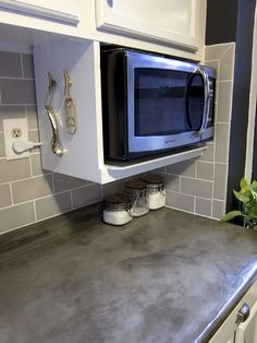 Major DIY's in the Kitchen: PART 3 – Additional Shelving - << joeandcheryl. Microwave Storage, Microwave In Kitchen, Diy Kitchen Storage, Kitchen Organization, New Kitchen, Kitchen Decor, Organization Ideas, Storage Ideas, Kitchen Ideas