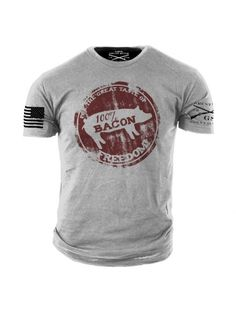 Bacon Freedom T-Shirt - Grunt Style Military Men's Grey Tee Shirt