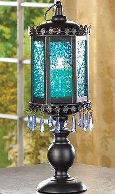Exotic Azure Blue Gypsy Boho Moroccan Glass Pedestal Lantern Wedding Decor | eBay