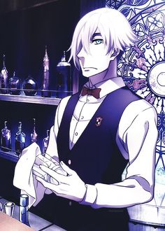 Death Parade  Bartender Decim and he is already my favourite chara. in this anime :3
